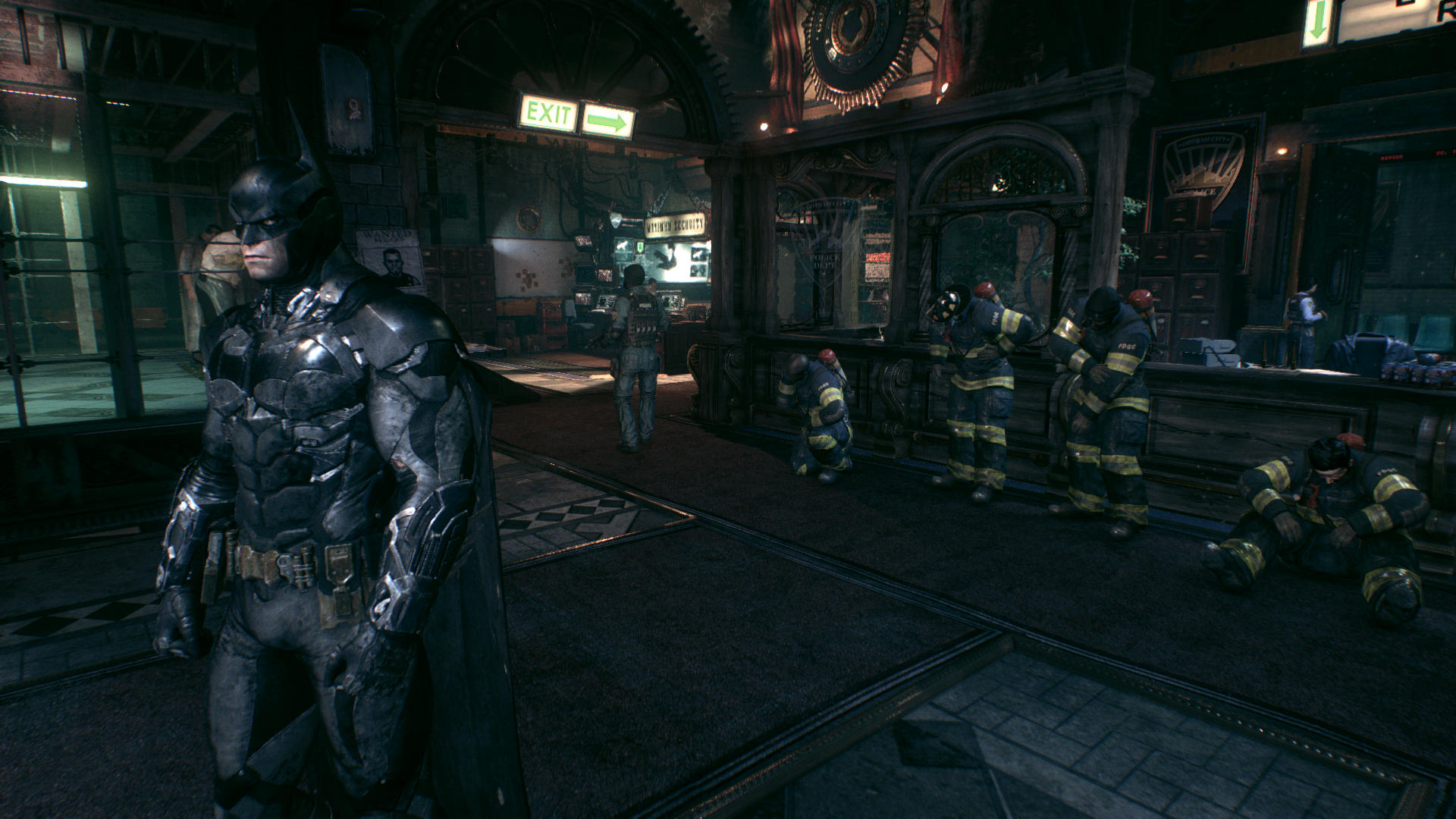 Batman inside the Gotham City police department