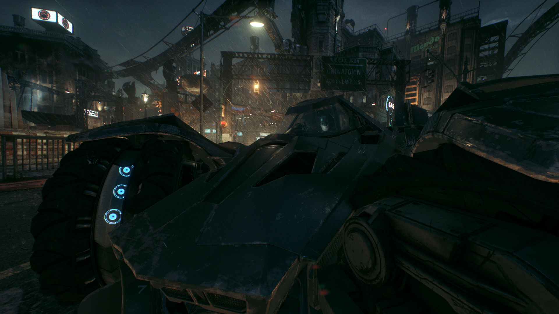Close up view of batman inside the batmobile