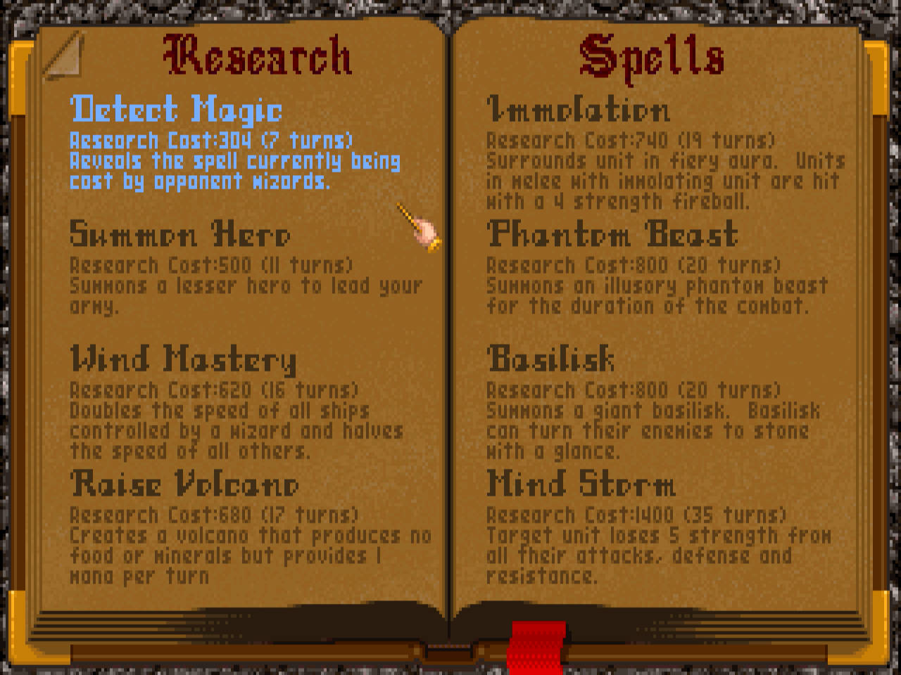Spell research selection