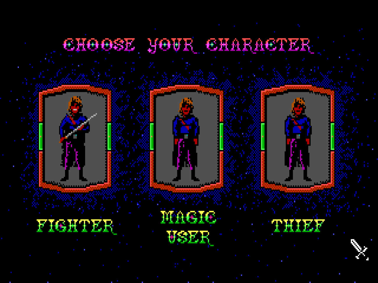 Character selection from the game