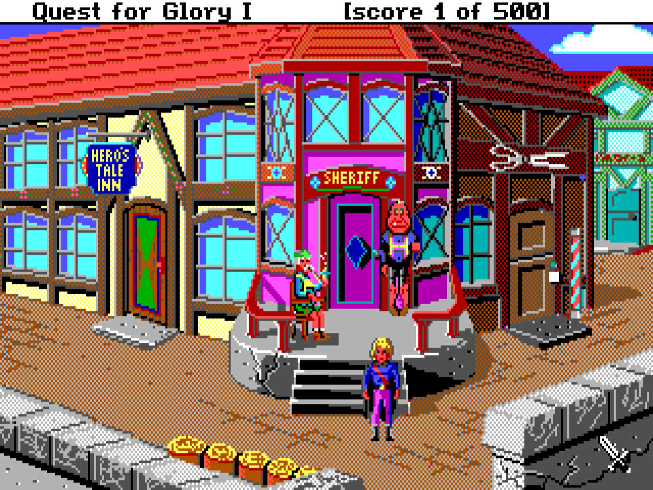 The Hero standing by the sheriff in EGA version