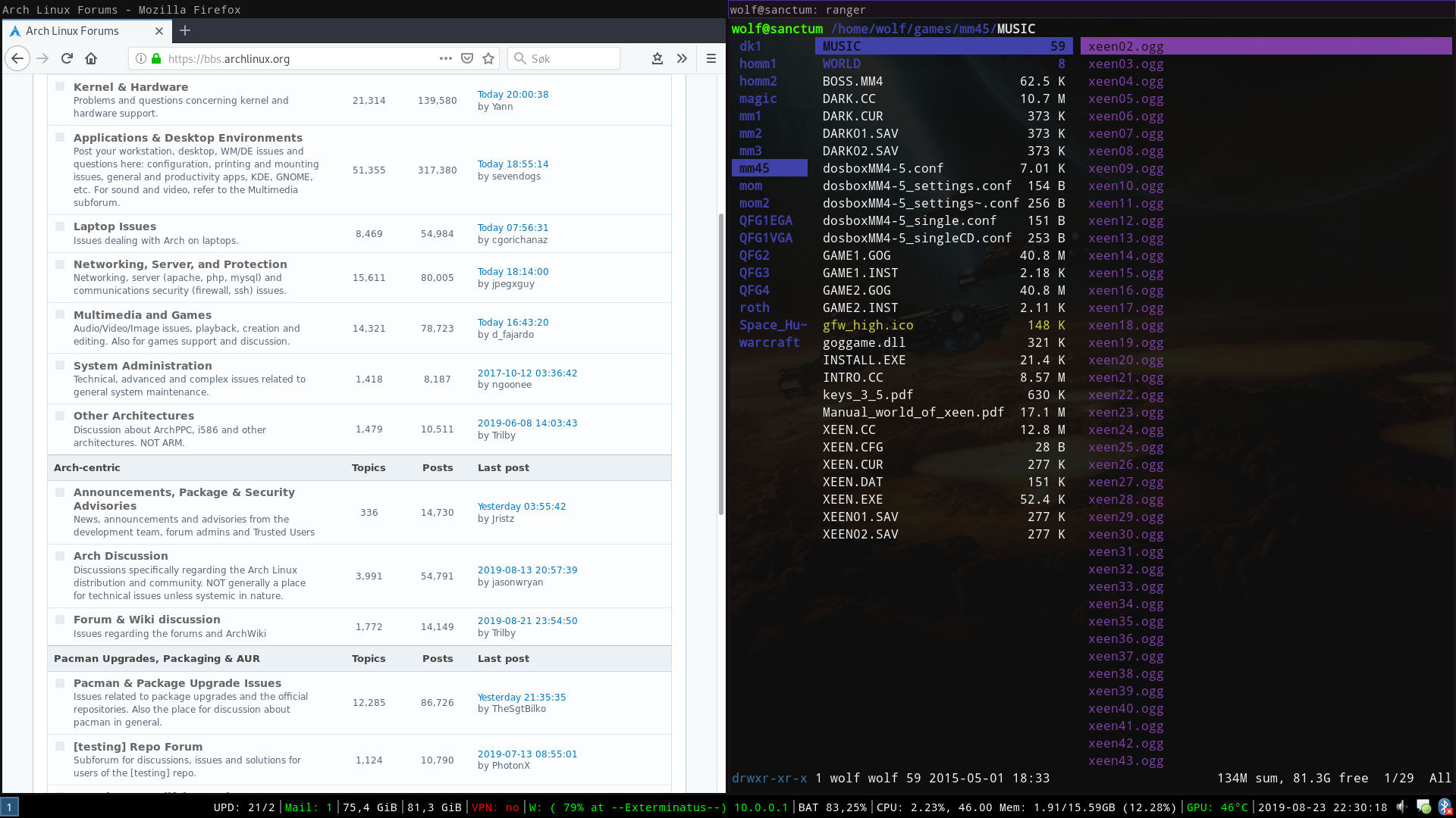 Firefox and terminal with ranger open