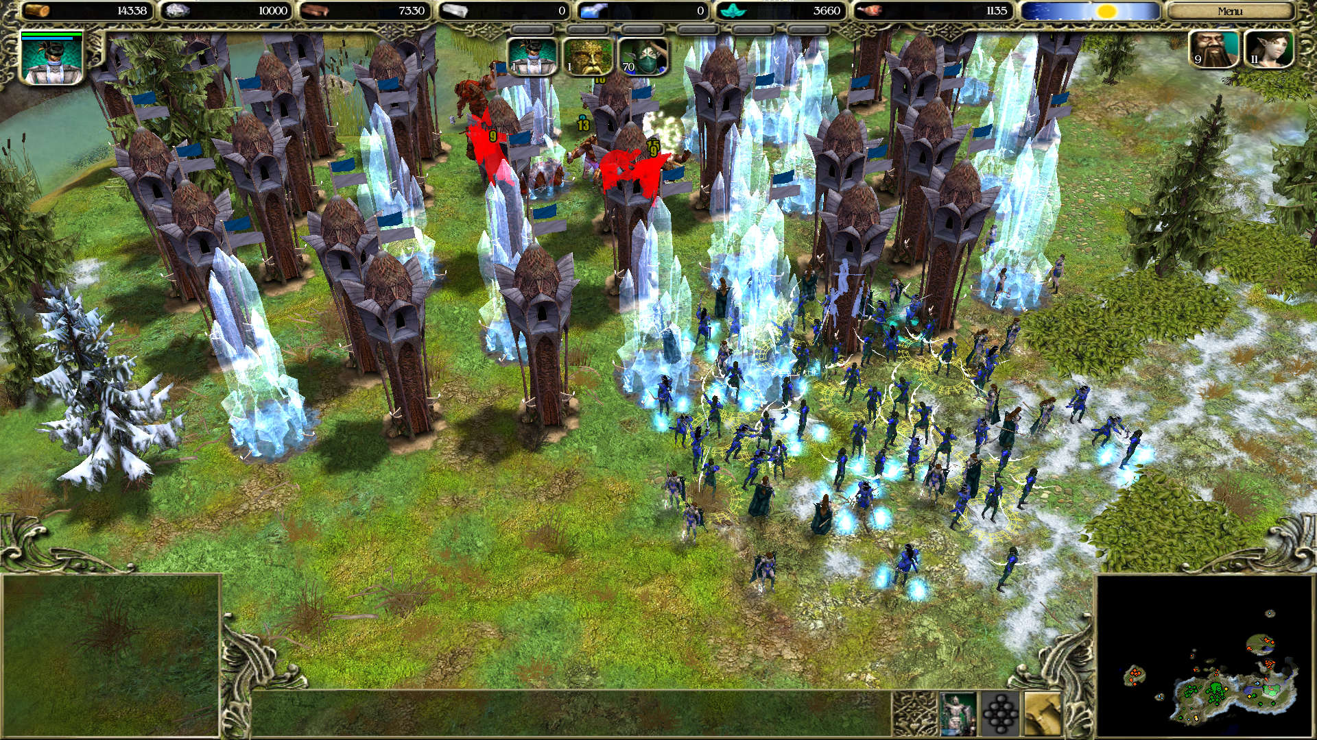 Elves defending against troll attacks, protected by lots of towers